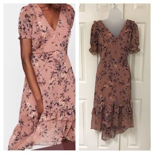 Floral high-low dress in dusty rose from Express.
